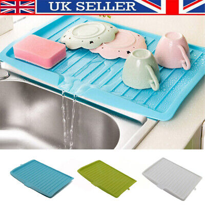 Dish Drainer Rack Storage Drip Tray Sink Drying Wired Draining Plate Bowl UK NEW • 6.98£