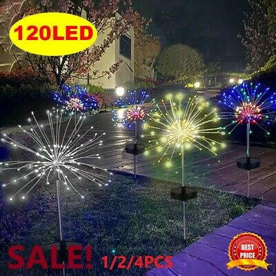 2/4X 120LED Solar Power Firework Garden Path Lights Lamp Starburst Stake Outdoor • 16.49£