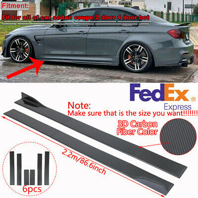 $69.88 • Buy 86.6'' Car Carbon Fiber Side Skirt Extension Rocker Panel Splitter Lip Universal