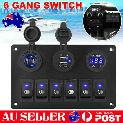 AU31.55 • Buy 6 Gang 12V Switch Panel USB Charger ON-OFF Toggle Rocker For Car Boat Marine