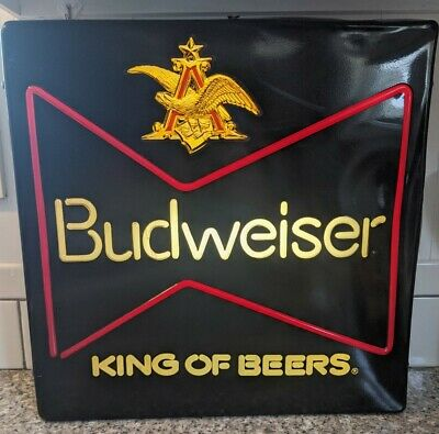 "$ CDN52.71 • Buy Vintage Budweiser King Of Beers Lighted Sign 18"" X 18"" X 5"""