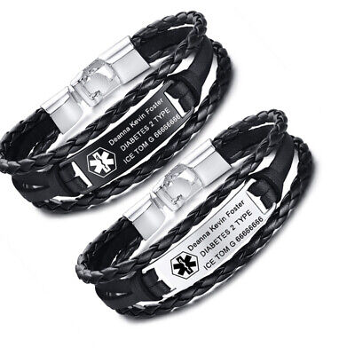 £3.99 • Buy Personalized Engraved Medical Alert Men's ID Bracelet Braided Leather Customized
