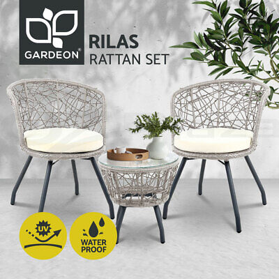 AU236.99 • Buy Gardeon Outdoor Furniture Rattan Bistro Set Chair Patio Garden Wicker Round 3pc