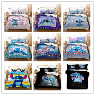 AU70.97 • Buy Cartoon Lilo Stitch 3D Bedding Set Duvet Cover Pillowcase Bedclothes