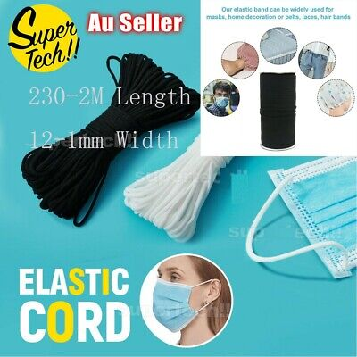 AU44.08 • Buy 12-1mm DIY Round Elastic Thin Band Soft Cord Face Mask Strap Sewing Rope 230-2M