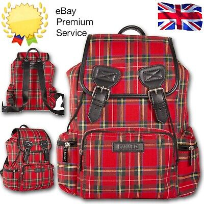 £34.99 • Buy Banned Apparel Red Tartan Gothic Punk Sex Pistol 80s Punk Emo Backpack Check Bag