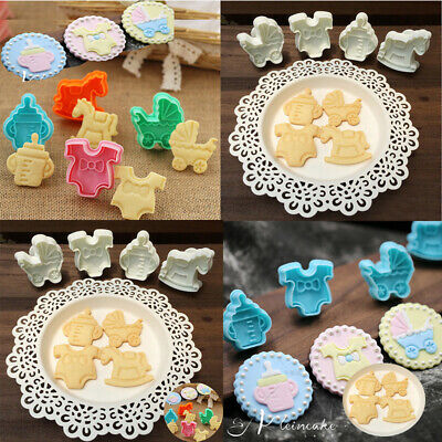 £2.84 • Buy Cake Biscuit Mold Mould Baby Baking Fondant Cookies Plunger Cutter 4pcs Cute