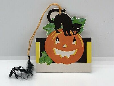 $ CDN13.20 • Buy Vintage 1940's Halloween Collectible Black Cat And Jack-O-Lantern Tally Card 🎃