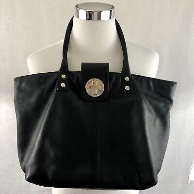 $ CDN106.66 • Buy Kate Spade Black Large Leather Tote With Cross Turnlock Smooth Leather