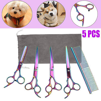 7''Pet Perfect Hair Scissors Grooming Cutting Thinning Curved Shear Comb Kit Uk • 13.54£