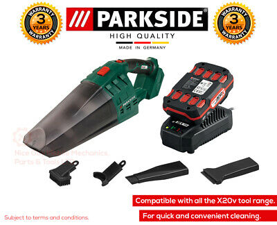 Parkside 20v Li-Ion Cordless Vacuum Cleaner Lightweight Bagless,Battery & Charge • 74.99£