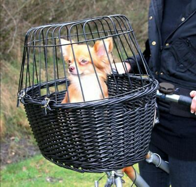 Basket Dog Cat Bike Carrier Wicker New Bicycle Travel Cycling Front Mounted Pet • 31.95£