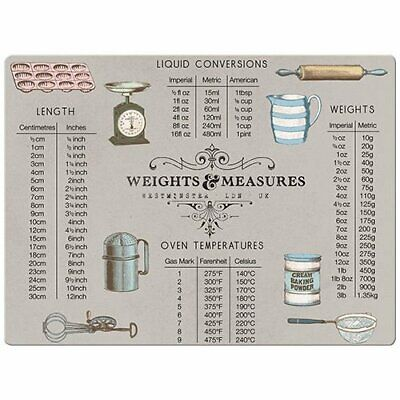 WEIGHTS And MEASURES Glass Worktop Saver CHOPPING BOARD 40x30cm • 12.99£