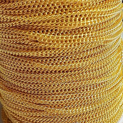 Gold Tone Plated Loose Curb Jewellery Making Chain 1m 2 Metre 1.5mm Links Dainty • 2.49£