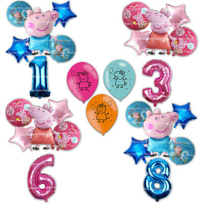 Peppa Pig And George Birthday Balloons Party Decorations Foil Latex Balloons • 8.99£
