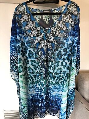 AU49.99 • Buy Gorgeous Kaftan With Crytals Blue N Greens One Size Swimwear Coverall