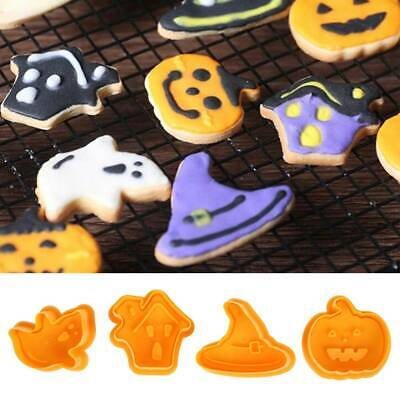 4pcs Set Halloween Biscuit Mold Cookie Cutter Stamp Fondant Pastry Mould Tool UK • 3.59£