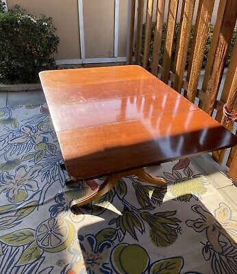 $1500 • Buy 1930's Duncan Phyfe Antique Mahogany Drop Leaf Dining Table, 2 Leaves