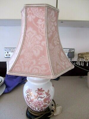£16.99 • Buy Lovely Oriental,pink Mimosa & Butterflies Table Lamp Super Condition,35 Cm Tall