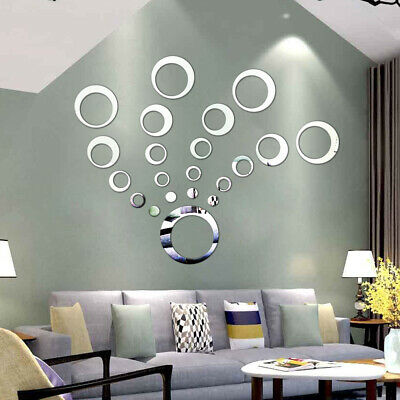 24Pcs DIY Removable Mirror Tiles Wall Stickers Home Art Decoration Mural E4A2 • 3.46£