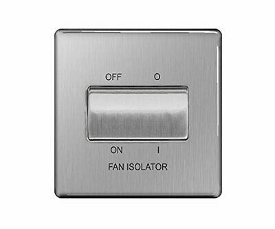 BG Electrical 3-Pole Fan Isolator Switch, Brushed Steel, 2-Way, 10AX • 9.99£