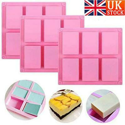 6 Cavity Silicone Rectangle Soap Mould Homemade DIY Cake Making Mold Craft UK • 4.99£