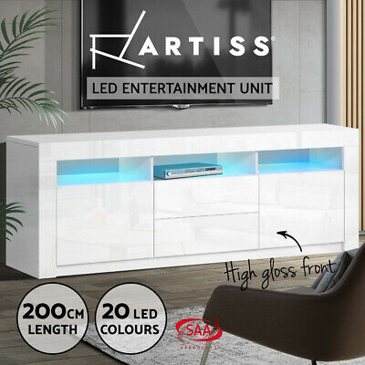 AU249.95 • Buy Artiss TV Cabinet Entertainment Unit Stand RGB LED Gloss Drawers 200cm White