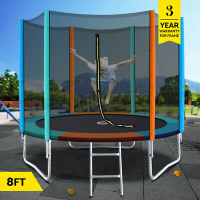 AU229.95 • Buy 8FT Trampoline Round Trampolines Kids Safety Net Enclosure Pad Outdoor Gift