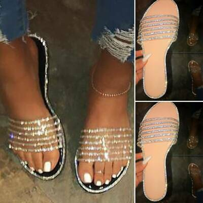 Womens Flat Slip On Diamante Studs Summer Sliders Sandals Crystals Shoes Mules • 10.29£