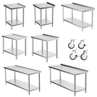 Stainless Steel Commercial Catering Table Work Bench Kitchen Top Restaurant Desk • 65.95£