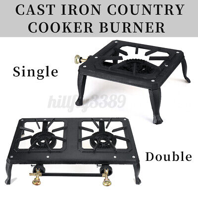 AU39.99 • Buy Single/Double Burner Cast Iron Country Cooker LPG Stove Gas BBQ Outdoor Backyard