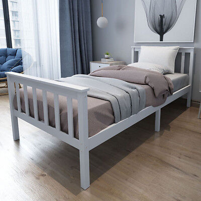 Single Bed Frame In White 3ft Solid Wooden Frame Fits Single Mattress 190x90 Cm • 51.99£