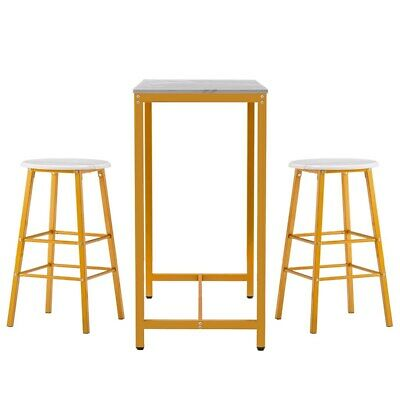 Set Of 3 Marble Table And Round Bar Stools Modern Breakfast Dining Desk Chairs • 81£