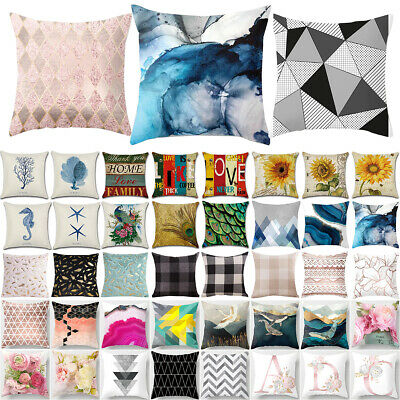 18x18'' Geometric Floral Pillow Cases Square Cushion Covers Throw Home Sofa Deco • 4.93£