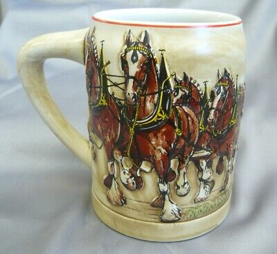 $ CDN62.54 • Buy 1980 Anheuser Busch Budweiser Clydesdales Christmas Holiday Beer Stein EXCELLENT