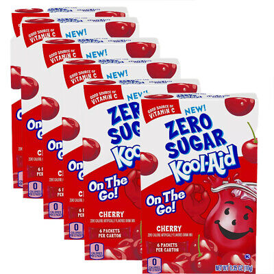 6 Boxes Kool-Aid Cherry Zero Sugar Drink Mix Singles To Go (36 Packets) • 12.58£