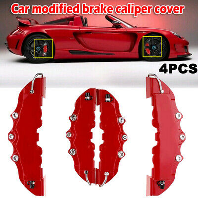 4PCS 3D Red Car Universal Disc Brake Caliper Covers Front & Rear Accessories Kit • 7.99£