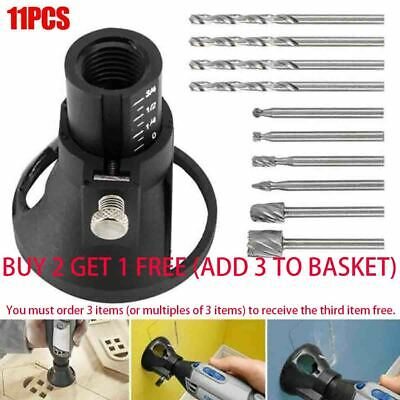 11x Dremel Router Attachment HSS Drill Bit Rotary Multi Cutting Tool Guide Kit • 6.99£