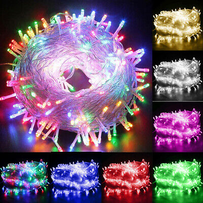 Mains Plug In Fairy String Lights 10-1000 LED Clear Cable For Christmas Tree UK • 9.89£