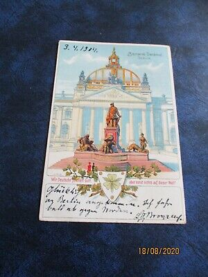 Early Postcard, Bismarck Monument, Berlin, Posted 1904 • 5£