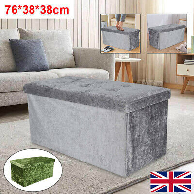 2 Seater Double Storage Bedroom Crushed Velvet Ottoman Bin Box Bed Foot Stool  • 18.59£