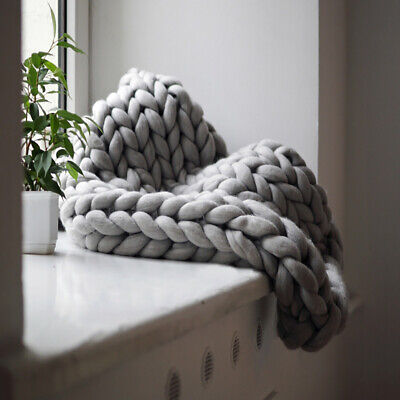 Luxury Wool Chunky Cable Knit Hand-woven Sofa Bed Chair Blanket Throw • 20.95£
