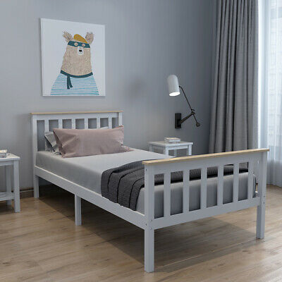 Single Bed Frame In White+ Pine Bar 3ft Solid Wooden Frame Fits Single Mattress • 51.99£