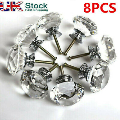 8x 40mm Crystal Diamond Glass Pull Handle Door Knobs Drawer Cupboard Cabinet • 7.29£