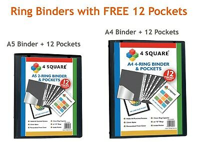 £3.29 • Buy A5/A4 Presentation Ring Binder + 12 Clear Pockets Black Strong Ring Binder NEW