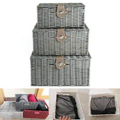 Set Of 3 Resin Woven Wicker Willow Storage Baskets With Lid & Lock Gift Hamper • 14.90£