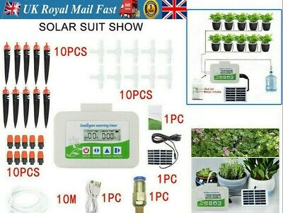 Solar Garden Plant Automatic Drip Irrigation System Kit Auto Timer Watering Pipe • 31.66£