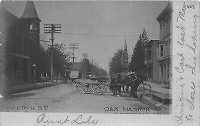 $ CDN33.06 • Buy G99/ Oak Harbor Ohio RPPC Postcard 1906 Church St Stores Wagons Horse 4