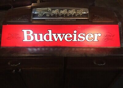 $ CDN759.69 • Buy ✨Rare Vintage 1988 Budweiser Beer Sign Light Pool Table Clydesdale Horses 40