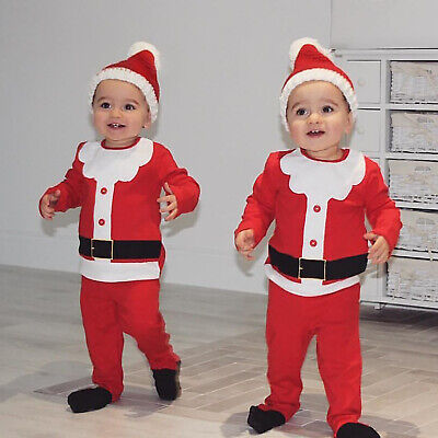 Kid Baby Boys Girls Christmas Halloween Santa Claus Costume Top Pants Hat Outfit • 8.45£